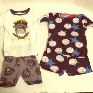 Boys 2T summer pajamas dog pirate & baseball EUC